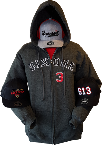 Six One 3 Zip Hoodie Heathered Black