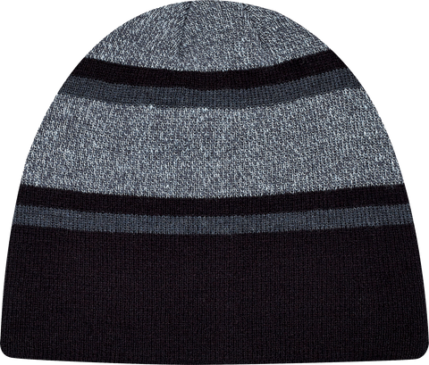 Stripe Rib Knit Board Toque Black Charcoal