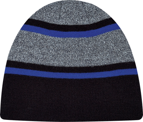 Stripe Rib Knit Board Toque Black Royal