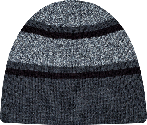 Stripe Rib Knit Board Toque Charcoal Black