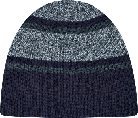 Stripe Rib Knit Board Toque Navy Charcoal