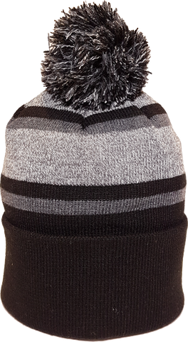 Acrylic Cuffed Pom Toque Black Grey