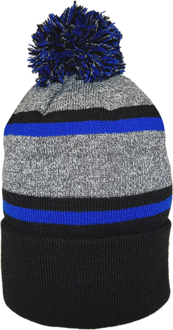 Acrylic Cuffed Pom Toque Black Royal