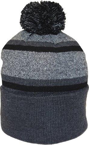 Acrylic Cuffed Pom Toque Charcoal Grey