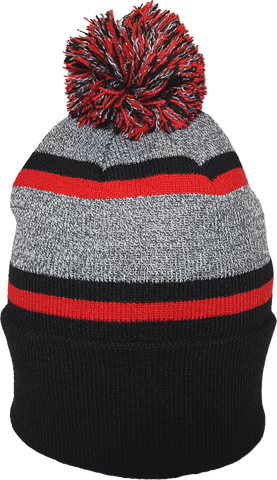 Acrylic Cuffed Pom Toque Black Red