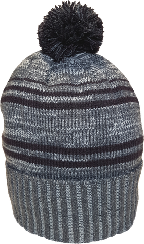 Micro Fleece Lined Pom Toque Charcoal Black