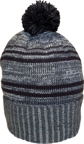 Micro Fleece Lined Pom Toque Charcoal Navy