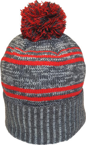Micro Fleece Lined Pom Toque Charcoal Red