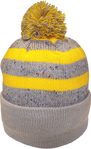 Jersey Fleck Knit Pom Toque Oatmeal Gold