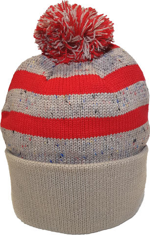 Jersey Fleck Knit Pom Toque Oatmeal Red