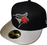 Toronto Blue Jays Fitted Custom Exclusive Low Profile Black and Metallic Silver