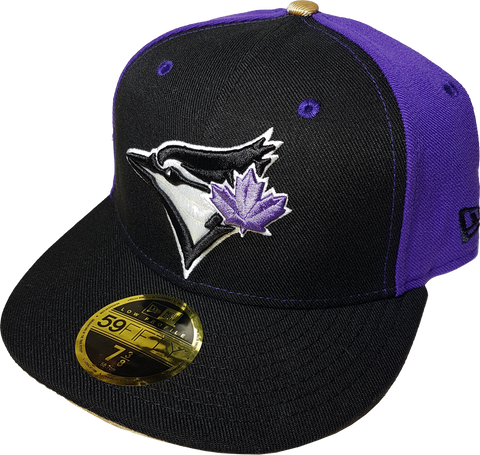Toronto Blue Jays Fitted Custom Exclusive Low Profile Black, Purple and Metallic Gold