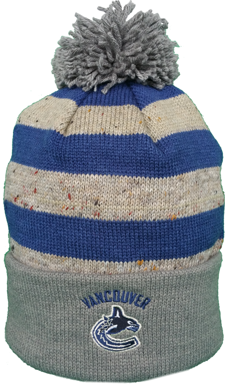 Vancouver Canucks Speckled Oatmeal Pom Toque