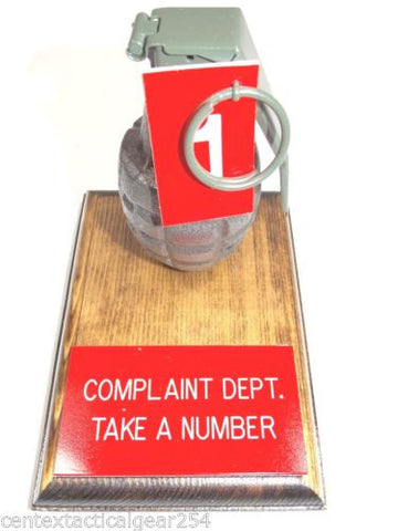 Complaint Department Desk Top Grenade