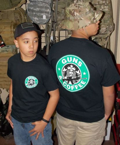 Guns & Coffee T-Shirt Black Starbucks Parody