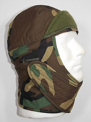 Military Cold Weather Balaclava Woodland Camo Hat Helmet Liner Insulated Cap