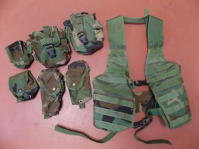Military Woodland Camo BDU FLC Tactical MOLLE Vest Load Carrier Chest Rig RACK