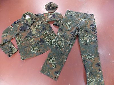 GERMAN FLECKTARN UNIFORM SET JACKET & PANTS W/ HAT CAMOUFLAGE
