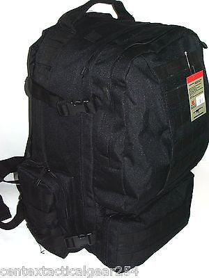Black Large Tactical MOLLE Assault Pack 3 Day Backpack Ruck Sack Bug Out Bag