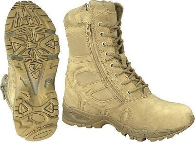 Desert Tan Military Tactical Side Zipper Boots Army Combat Boot Forced Entry 8""