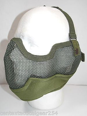 Olive Drab Airsoft Metal Wire Mesh Protective Face Mask Large Covers Nose & Ears