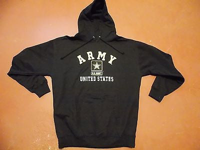 US ARMY HOODIE SWEATSHIRT SWEATER BLACK GOLD LOGO XL X-LARGE