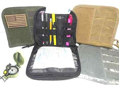 MOLLE Tactical Admin Pouch Land Nav Map Pocket Clamshell Opening Velcro Panel