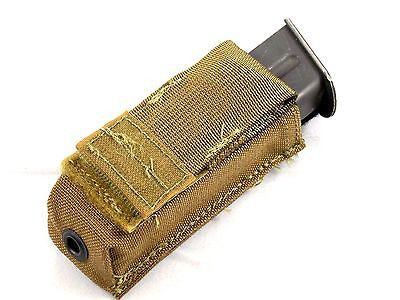 USMC Coyote Brown Single Pistol Mag Pouch 9mm Magazine Open Top MOLLE/PALS FSBE