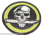 Tactical Military Uniform Skull w/ Knife & Beret Morale Patch Velcro Hook 3.25""