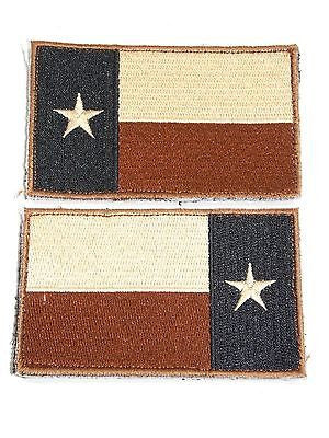 Military Uniform Tactical Texas Flag Patch Velcro Backing Desert Tan Subdued