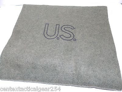 GI Style US Stamped Olive Drab OD Green Wool Blanket Fire Retardant 62 x 80 NEW