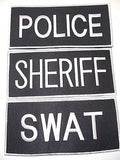 "SHERIFF POLICE SWAT VELCRO TACTICAL VEST ID PATCH LARGE 9"" X 4"" WHITE ON BLACK"