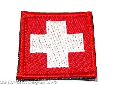 Tactical Military First Aid Kit Red White Cross Velcro Hook Patch Medic IFAK 2x2