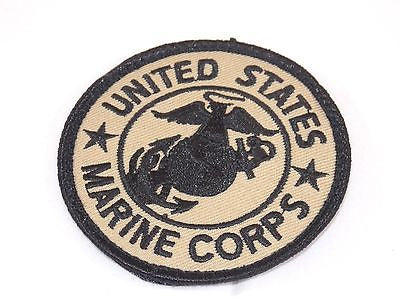 USMC Marine Corps Patch Coyote Brown Tan Globe & Anchor Round Velcro Patch 3""