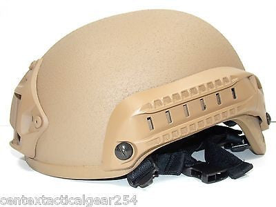Coyote Tan Tactical Airsoft Helmet with Rails & NVG Mount FAST ACH MICH Replica