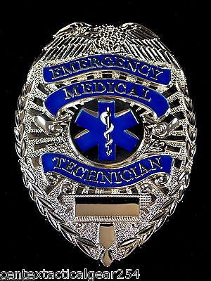 EMT Badge Emergency Medical Technician Full Size Silver Blue Star of Life Logo