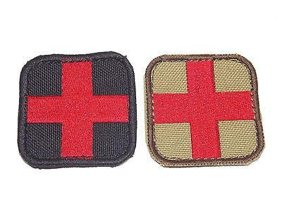 "Red Cross Medic Patch 2""x2"" Velcro First Aid IFAK Medical EMT EMS Corpsman"
