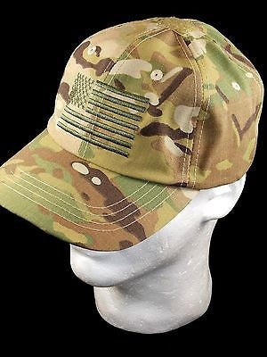 Multicam Tactical Ball Cap Embroidered American Flag USA Hat Velcro Loop Patch
