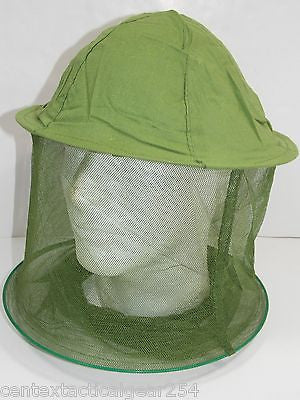Mosquito Netting Head Net Insect Headnet Hat Military Style Olive Drab Green