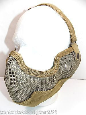 Coyote Tan Airsoft Metal Wire Mesh Protective Face Mask Large Covers Nose & Ears