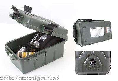 Survival Dry Storage Box Hard Plastic Protective Case Water Resistant w/ Compass
