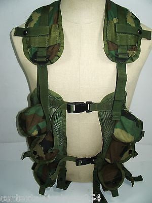 Army Military Woodland Camouflage Tactical Vest LBV Magazine Carrier Chest Rig