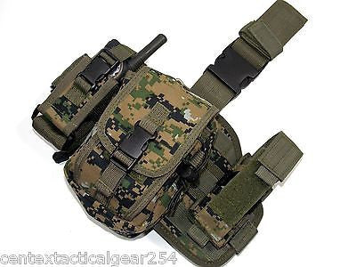 Digital Woodland Drop Leg Rig Panel Platform w/ Pouches Tactical Subload Carrier