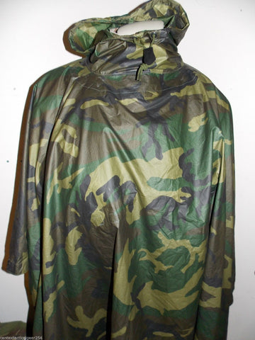 US Military Issue Woodland Wet Weather Rain Poncho 8405-01-100-0976