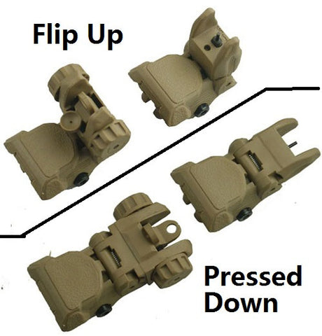 Polymer Front And Rear AR Flip Up Sight Set TAN
