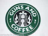 Guns And Coffee Starbucks Military Army Uniform Velcro Tactical Patch 3D Rubber