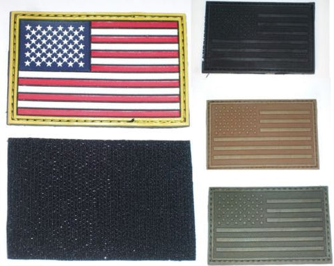 "Tactical American Flag Patch Velcro Backing USA Rubber 3D 2""x3"""