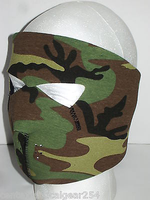 Reversible Woodland Camo/Black Neoprene Themal Protective Tactical Face Mask