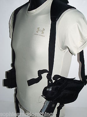 Black Tactical Ambidextrous Horizontal Shoulder Harness Pistol/Gun Holster NEW