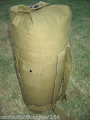 Army Military GI Style Duffle Bag Sea Bag OD Green Top Load Two Shoulder Straps